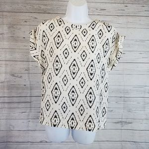 Theory Silk Top Sz Small Ivory Black Ikat Print